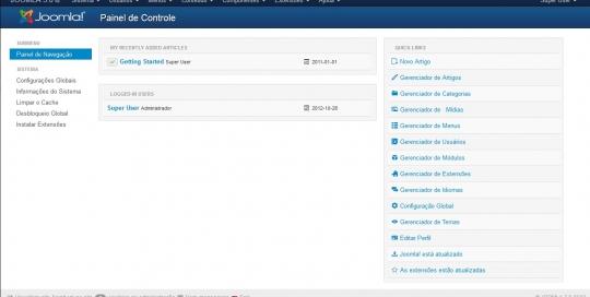 Painel de administração do jJoomla-3-0-View-Backend.