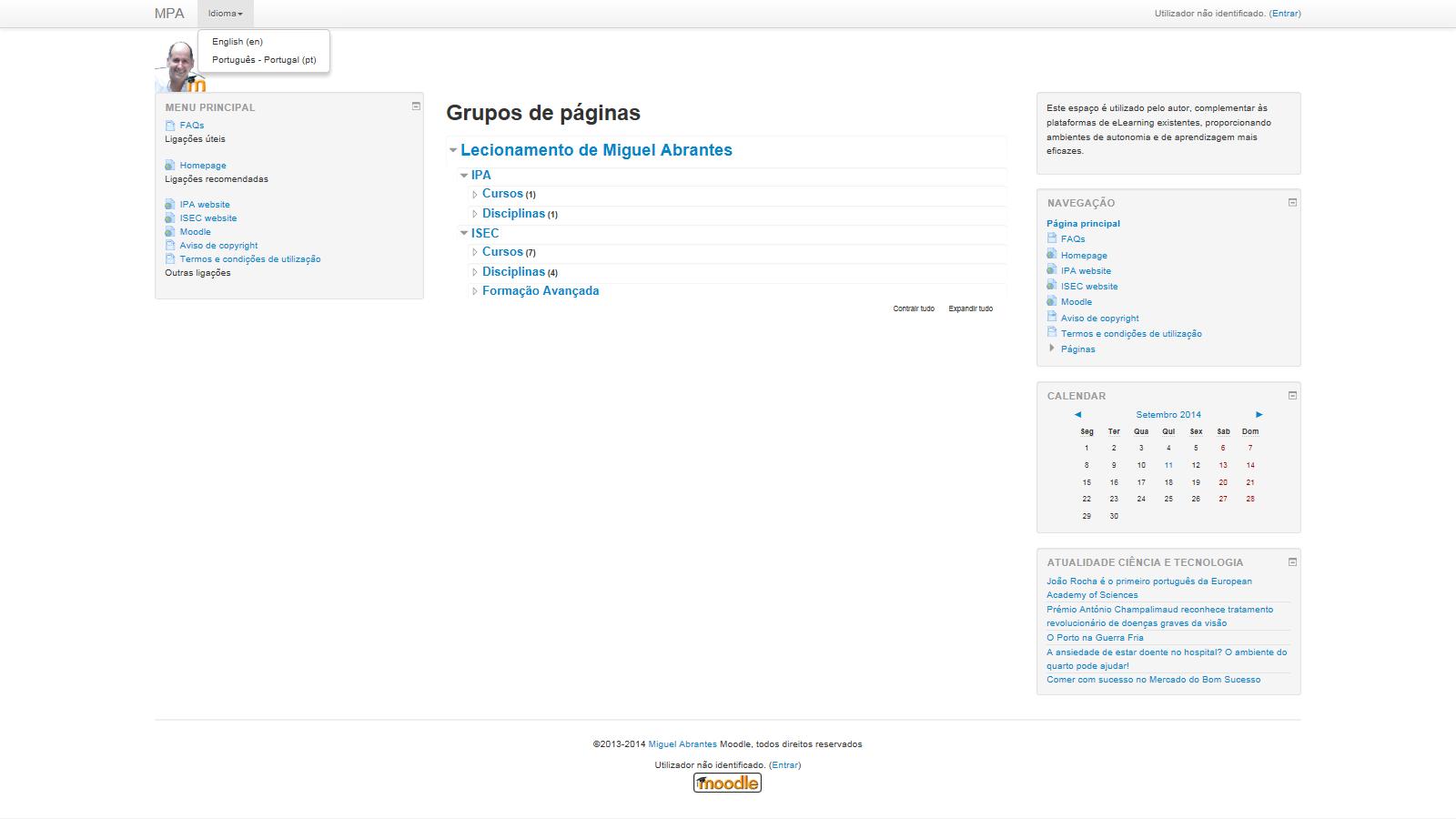 Imagem do Portal moodle de Miguelabrantes.pt