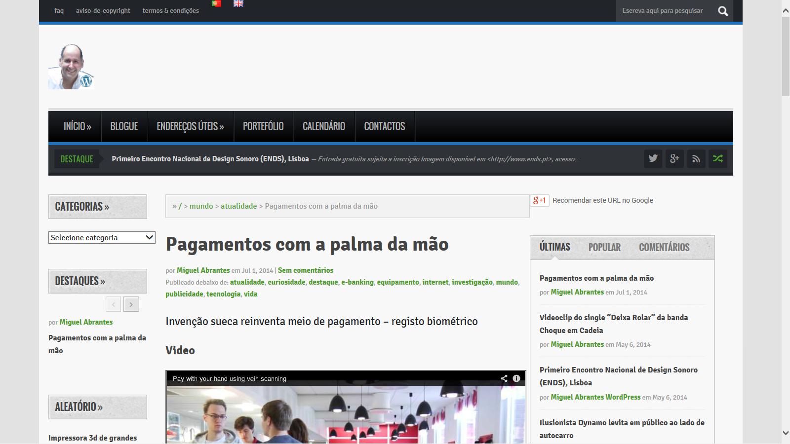 Imagem do Portal wp.miguelabrantes.pt, 2013-14