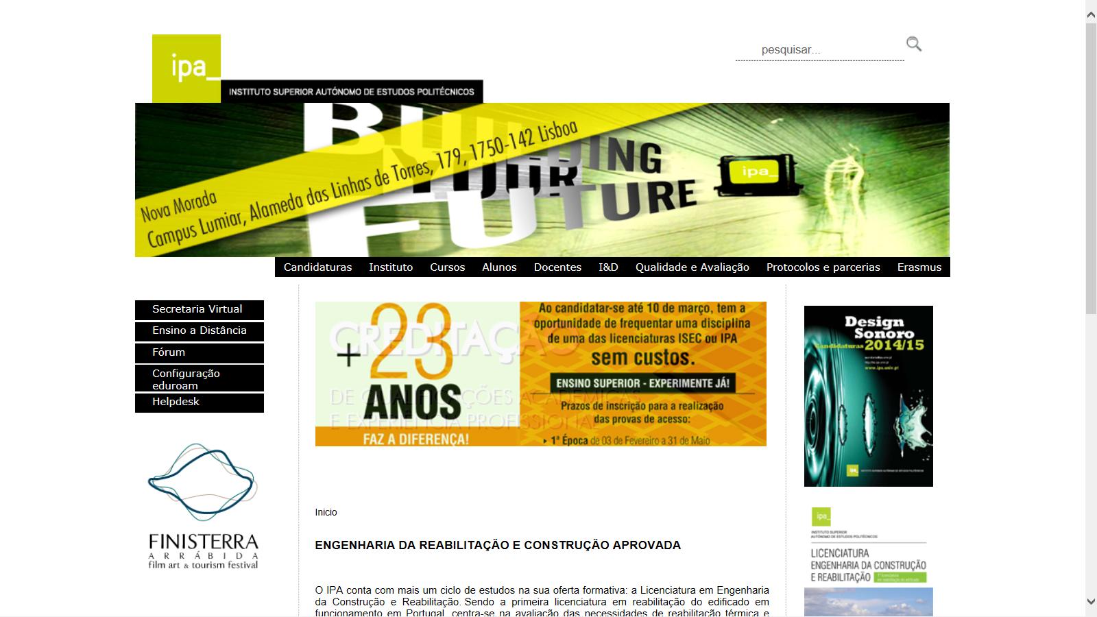Imagem Portal Institucional do IPA, 2001-14